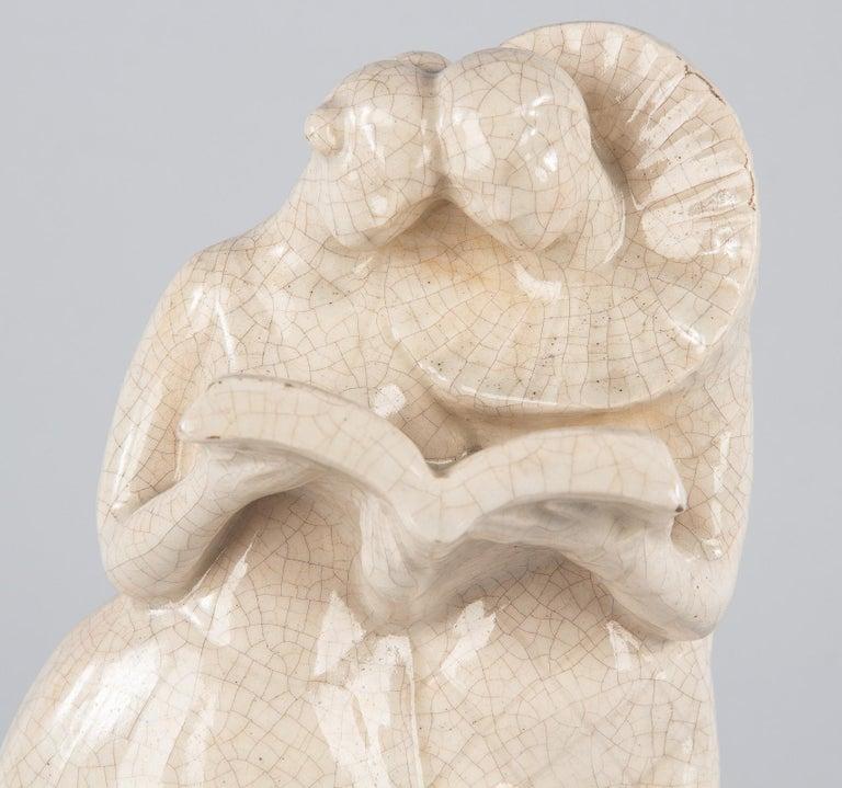 French White Crackled Ceramic Statuette, circa 1930s For Sale 9