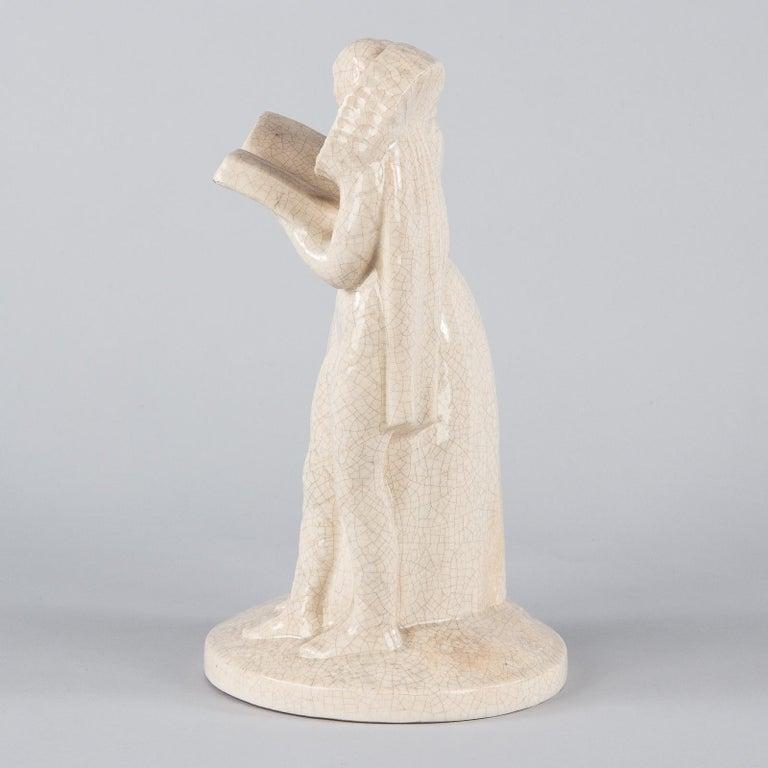 French White Crackled Ceramic Statuette, circa 1930s For Sale 2