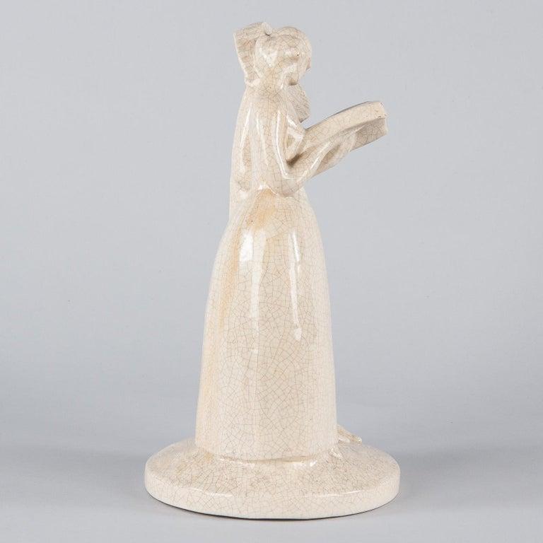 French White Crackled Ceramic Statuette, circa 1930s For Sale 4