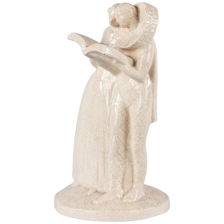 French White Crackled Ceramic Statuette, circa 1930s For Sale