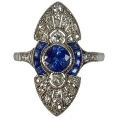 French White Diamond Blue Sapphire Platinum Ring