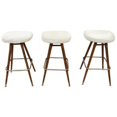 French White Hide and Wood Bar Stools, circa 1960, Set of 3