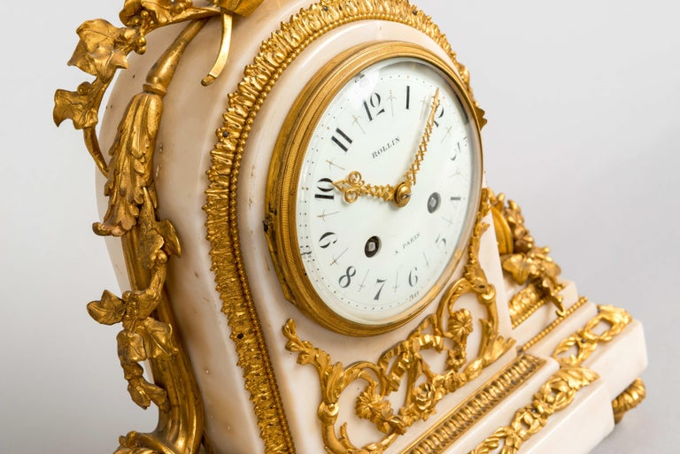 Belle Époque 19th Century French White Marble and Gilt Striking Mantel Clock by Rollin Paris