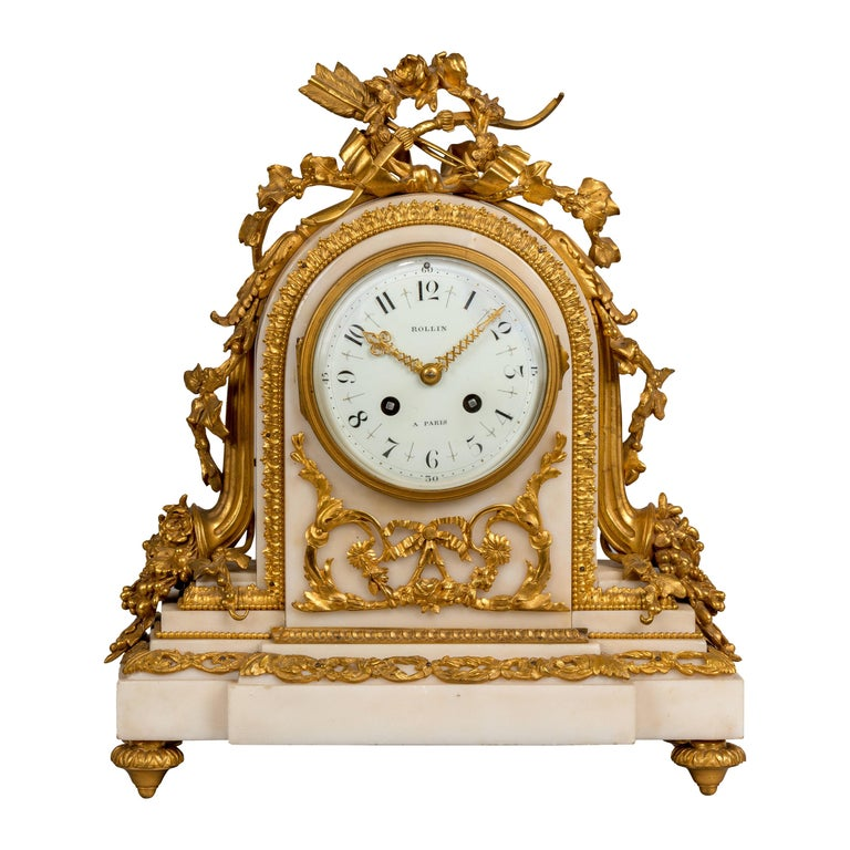 19th Century French White Marble and Gilt Striking Mantel Clock by Rollin Paris