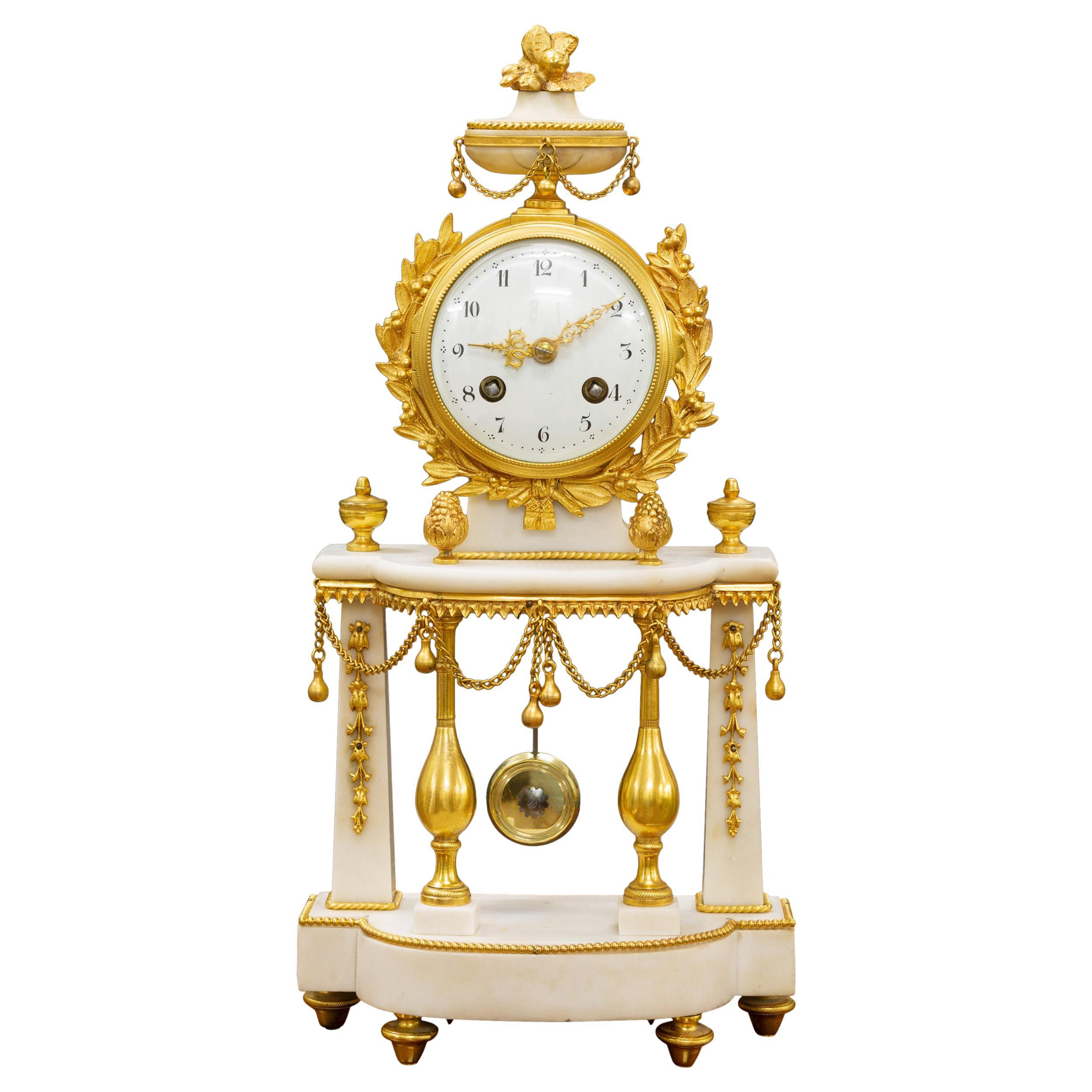 French White Marble and Ormolu Pillar Mantel Clock