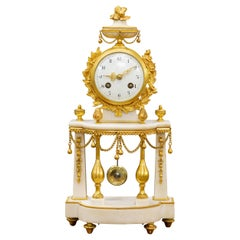 French White Marble and Ormolu Pillar Mantel Clock