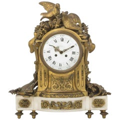 French White Marble Clock Retailed by Tiffany, 19th Century