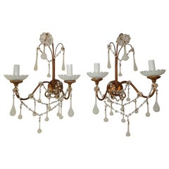 French White Opaline Beads Beaded Sconces, circa 1920