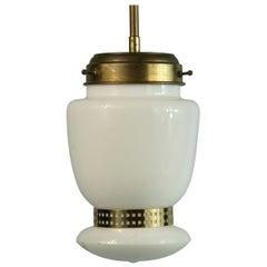 French White Opaline Glass and Brass Pendant