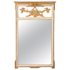 French White Painted Giltwood Trumeau Mirror