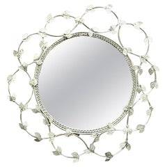 French White Painted Wrought Iron Mirror with Leaves, circa 1950