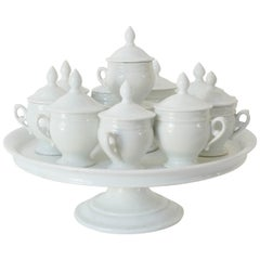 French White Pots de Creme Set, Cups with Tiered Stand