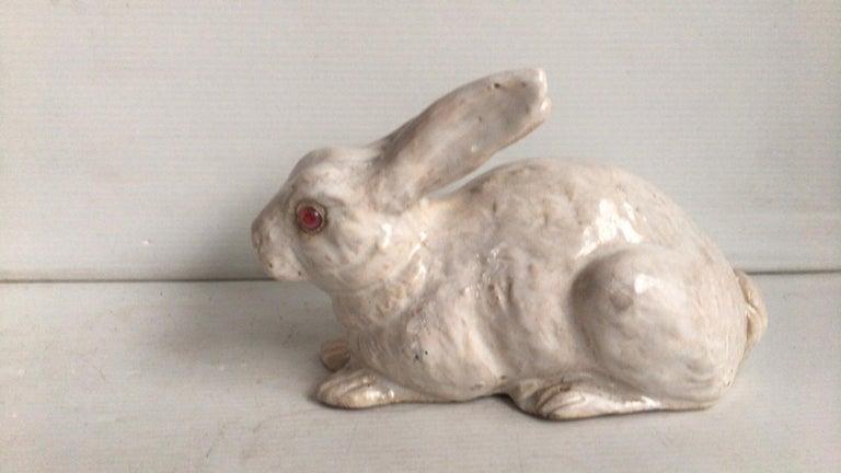 Rustic French White Terracotta Majolica Rabbit Bavent, circa 1890 For Sale