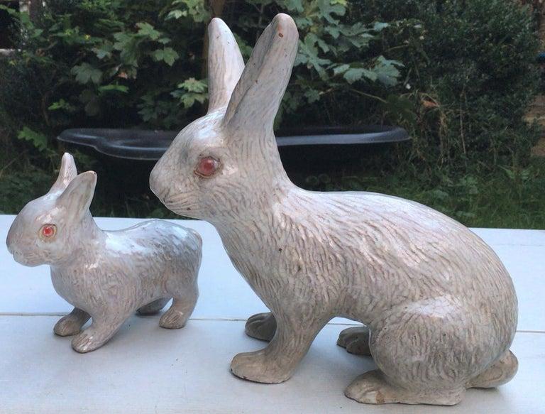 French White Terracotta Majolica Rabbit Bavent, circa 1890 For Sale 1