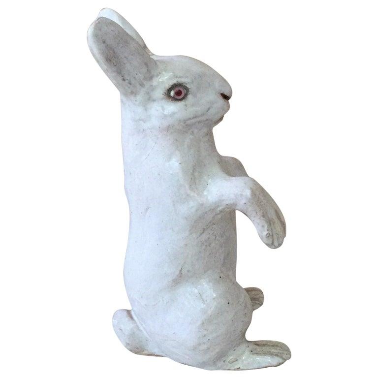 French White Terracotta Majolica Rabbit Bavent, circa 1890 For Sale 2