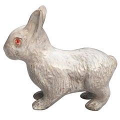 French White Terracotta Majolica Rabbit Bavent, circa 1890