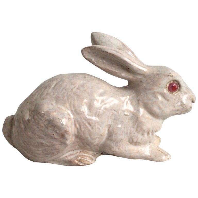 French White Terracotta Majolica Rabbit Bavent, circa 1890 For Sale