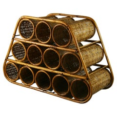 French Wicker and Bamboo 12 Bottle Wine Rack, 1960's