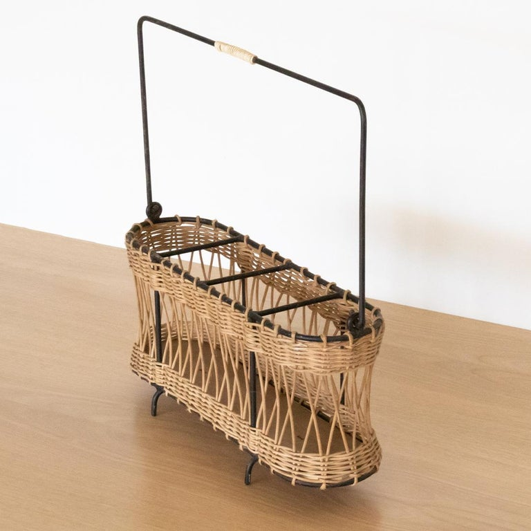 20th Century French Wicker and Iron Bottle Holder For Sale