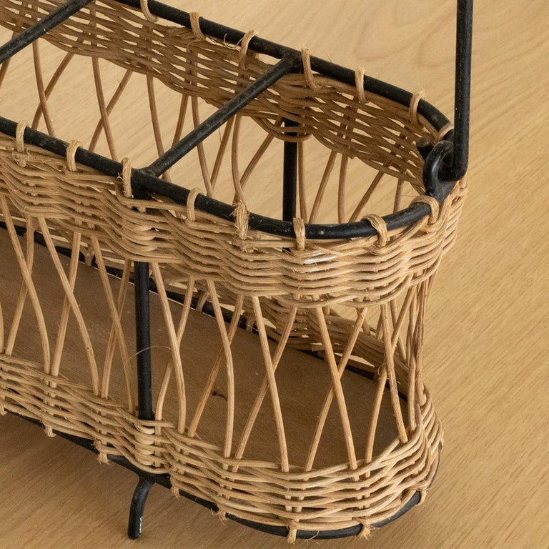 French Wicker and Iron Bottle Holder For Sale 2