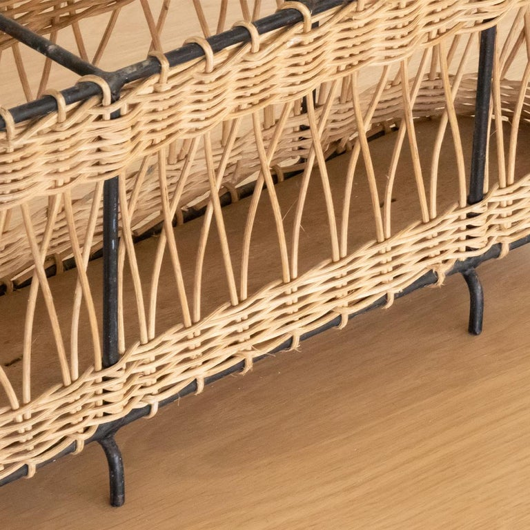 French Wicker and Iron Bottle Holder For Sale 3
