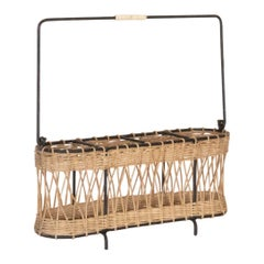 French Wicker and Iron Bottle Holder
