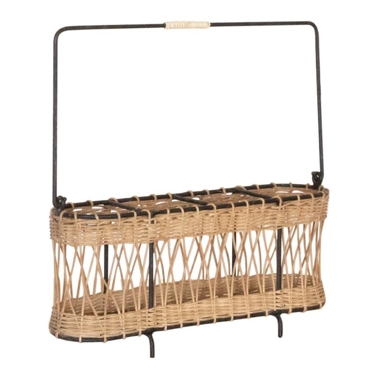 French Wicker and Iron Bottle Holder For Sale