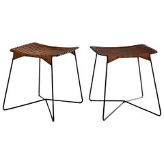 French Wicker and Iron Stools