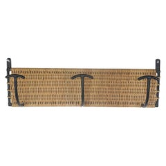 French Wicker and Iron Wall Hook