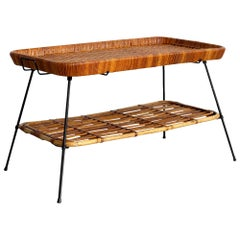 French Wicker Bamboo Table