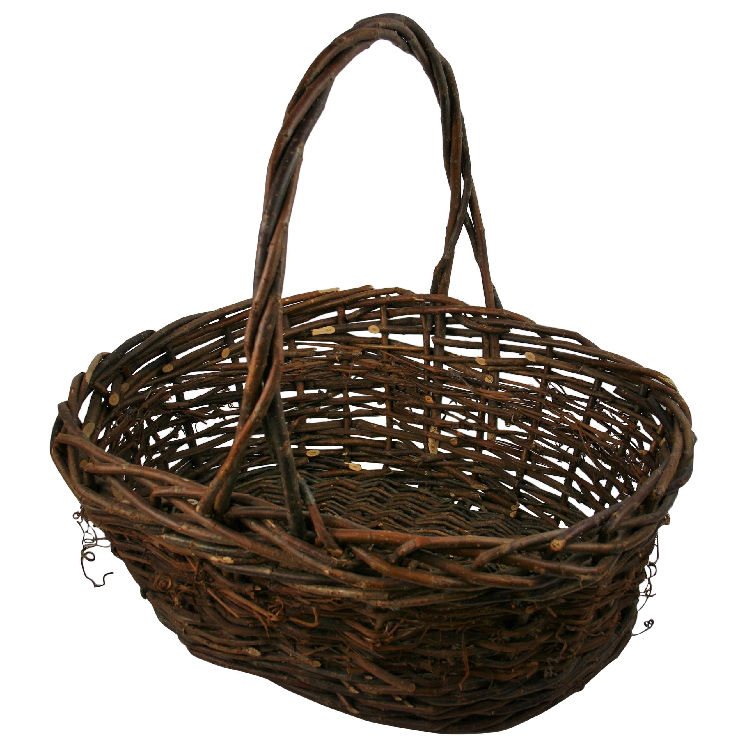 French Wicker Basket/Folk Art