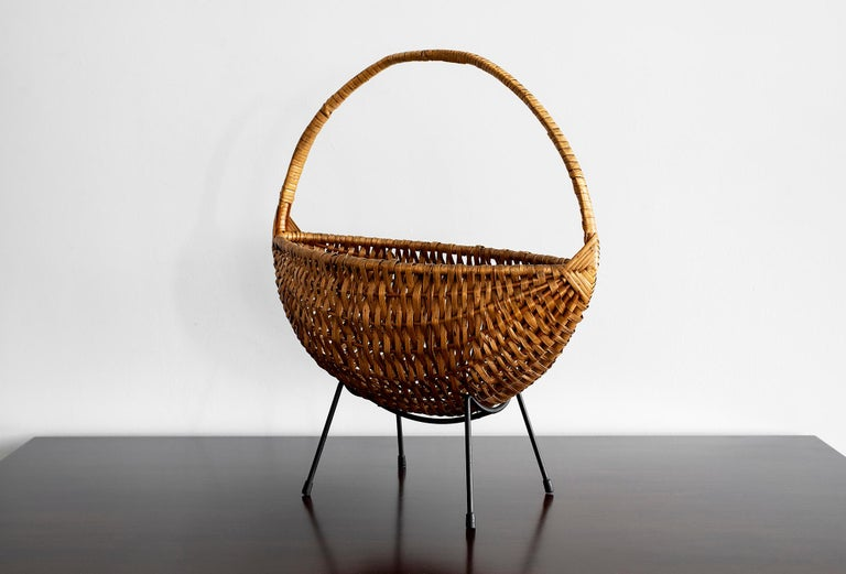 Sculptural French wicker and iron catch all or fruit bowl