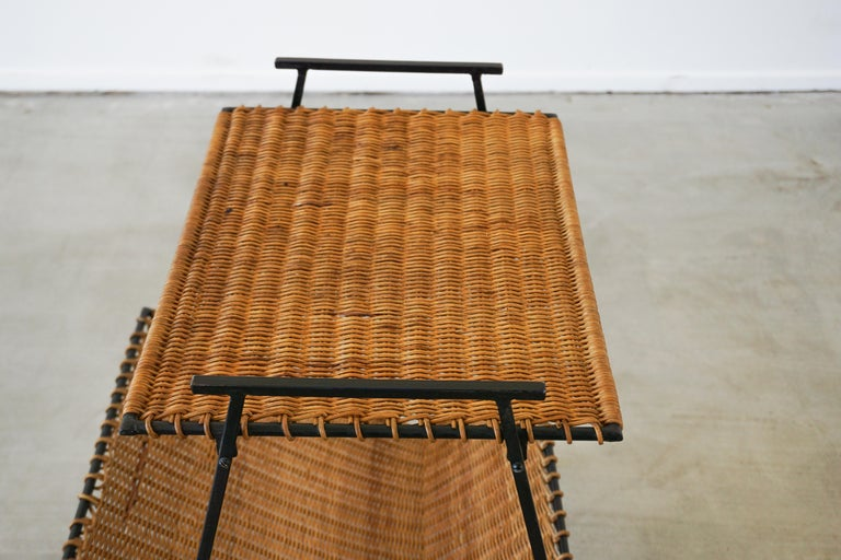 20th Century French Wicker Magazine Table