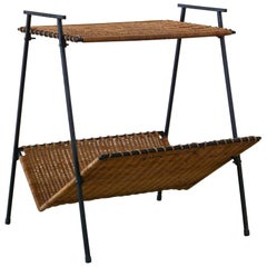 French Wicker Magazine Table
