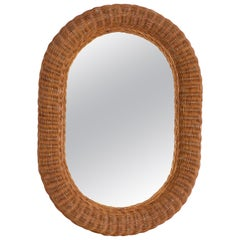 French Wicker Oval Mirror