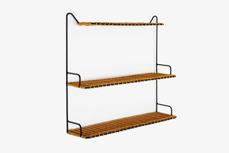 French wicker 3-tier shelf with iron and woven wicker.