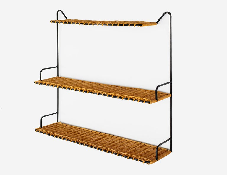 Mid-20th Century French Wicker Shelf For Sale