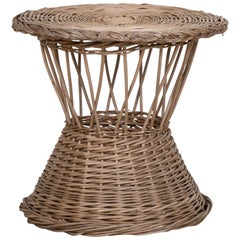 French Wicker Side Table