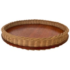 French Wicker Tray with Leather