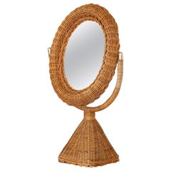 French Wicker Vanity Mirror