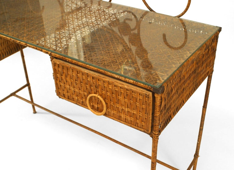 19th Century French Wicker Vanity With Dramatic Oval Mirror