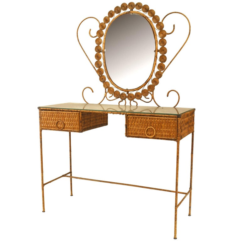 French Wicker Vanity With Dramatic Oval Mirror