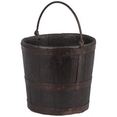 French Wine Cellar Oak Bucket, Early 1900s
