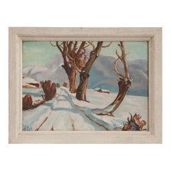 French Winter Landscape Painting