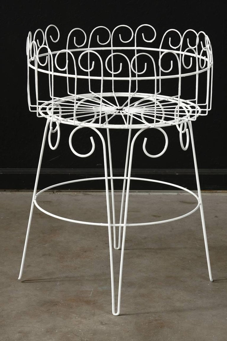 Victorian French Wire Basket Jardinière with Hairpin Legs For Sale