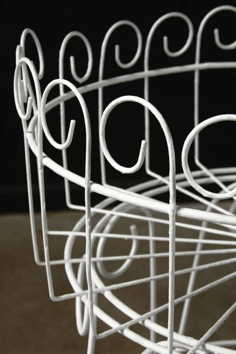 French Wire Basket Jardinière with Hairpin Legs In Good Condition For Sale In Oakland, CA