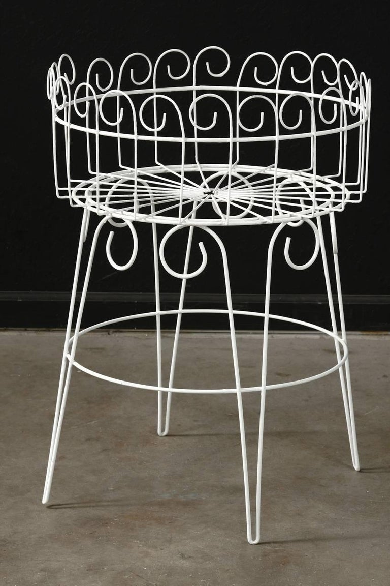 20th Century French Wire Basket Jardinière with Hairpin Legs For Sale