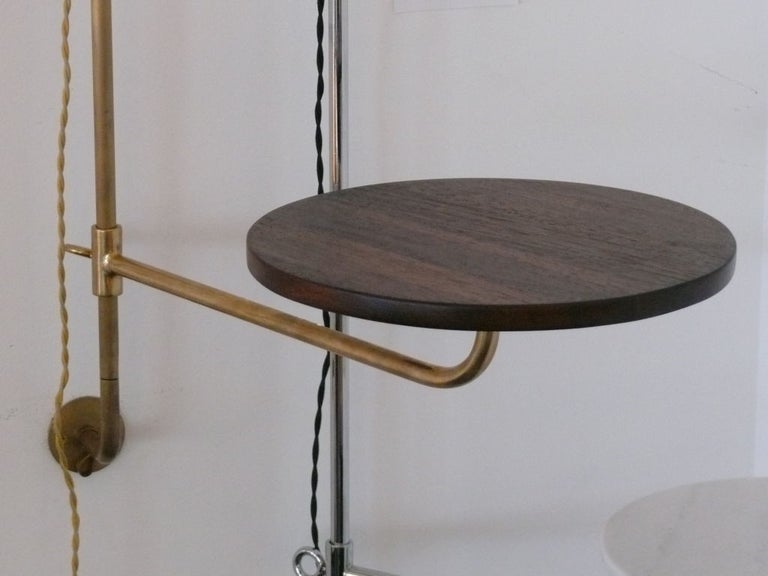 Brass French Wired Pole Sconce with Table by Orange Los Angeles For Sale