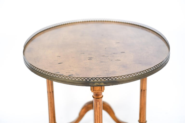 Oval French Table with Brass Gallery For Sale 2