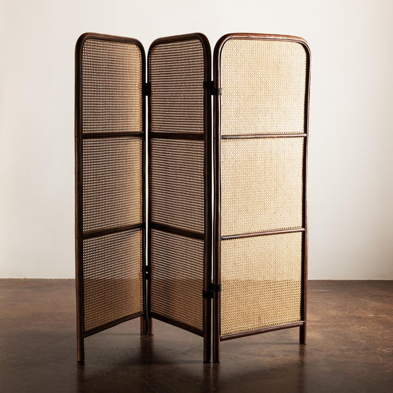 Lovely three-panel room divider in wood and cane with leather hinges, France, 1950s.